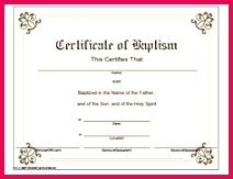 This printable baptismal certificate has a classic look and memorates baby or adult baptism in the Free Printable Certificate TemplatesWater