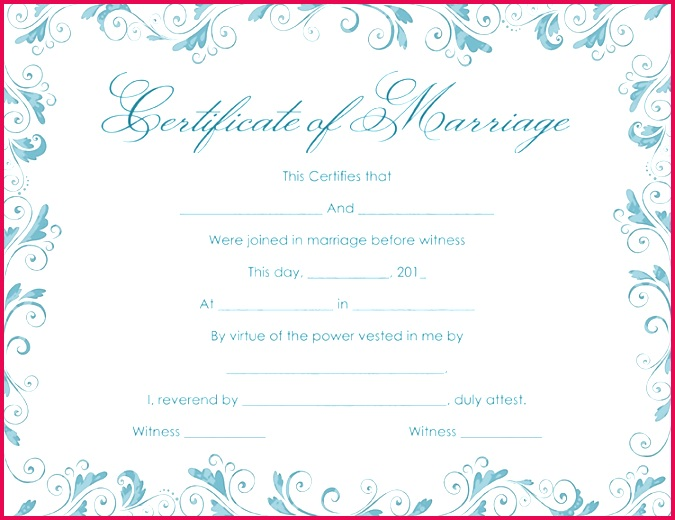Classic Bluish Marriage Certificate Template PDF