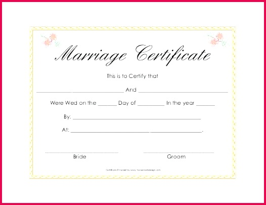 simple clear wedding certificate template for free sample
