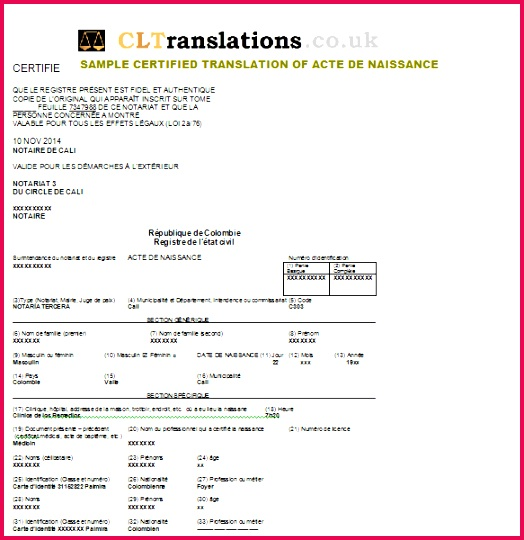 certified translation birth certificate spanish to french
