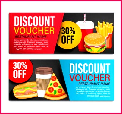 set od discount t vouchers for restaurans with 30 percent price off fast food coupon certificate