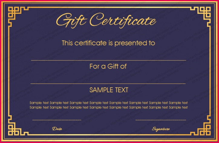 Royal Blue Gift Certificate Template