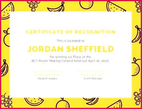 customize award certificate templates online orange patterned fruits recognition singing template free