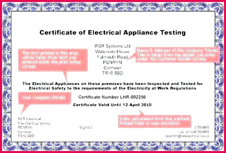 pressure test certificate template te portable appliance testing water gallery