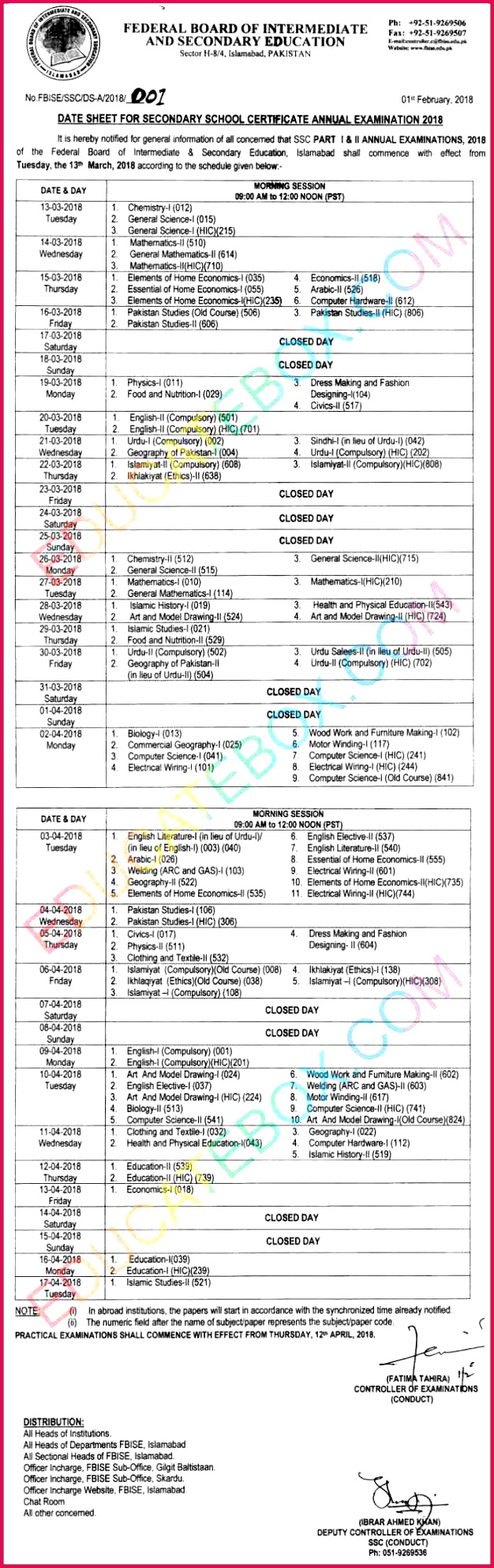 9th Class Past Papers · 10th Class Past Papers · Other Date Sheets