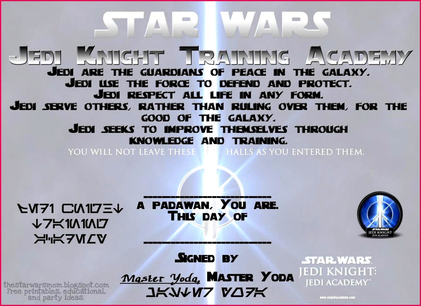 awesome jedi knight certificate template for additional certificate border template