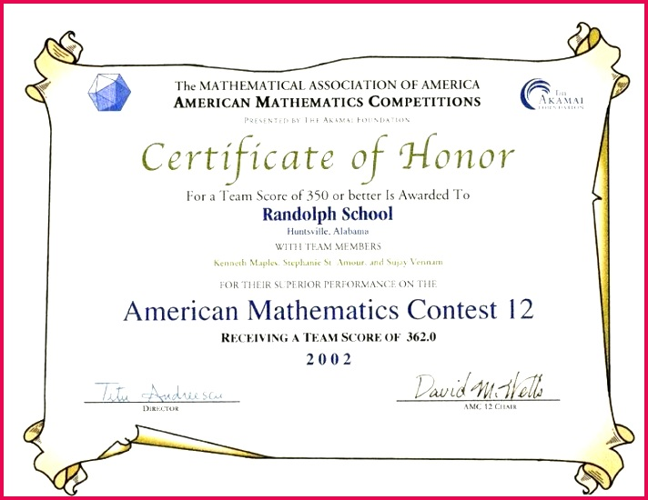 awards for the contests examinations mathematical association of high honor roll certificate templates template specialization c member function 10