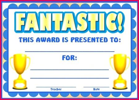 fantastic blank printable award certificate