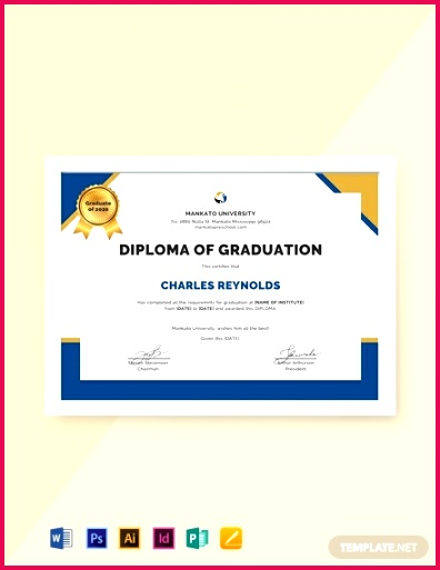 Free Diploma of Graduation Certificate Template 440x570 1