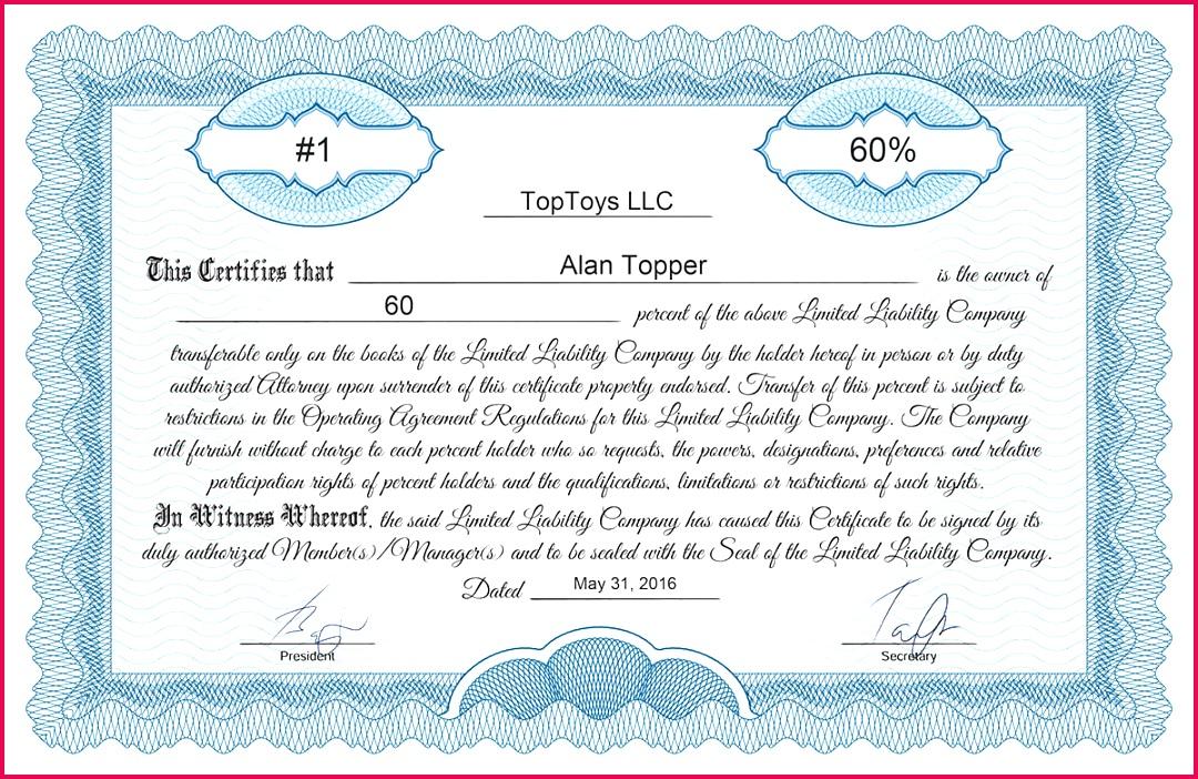 Certificate template llc classic