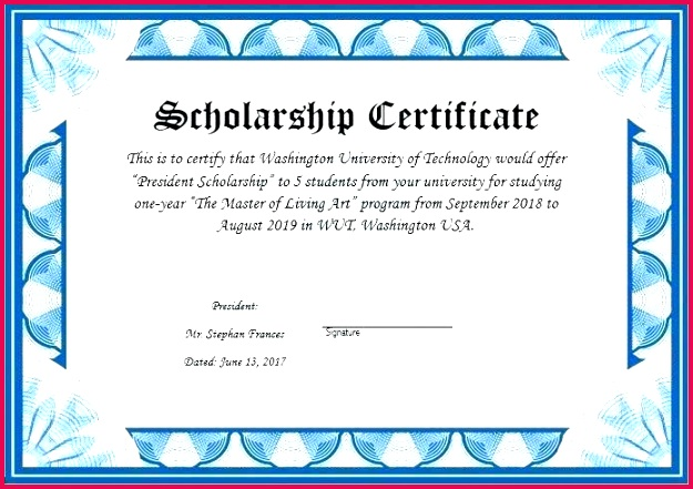 scholarship certificate template word award and for fun awards long service