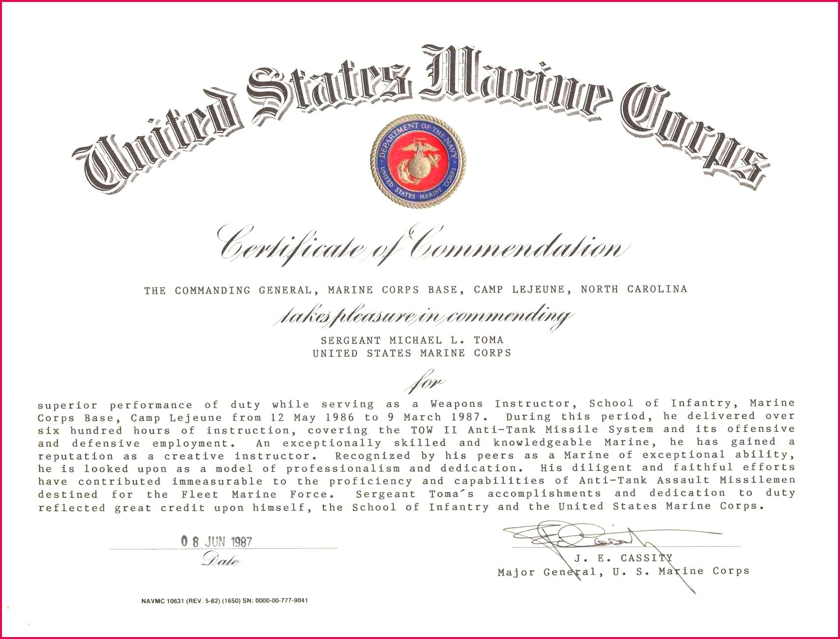 Marine Corps Business Card Holder Beautiful Certificate Mendation Usmc Template top Usmc Business Card