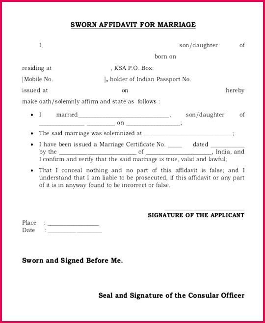sworn affidavit form for marriage