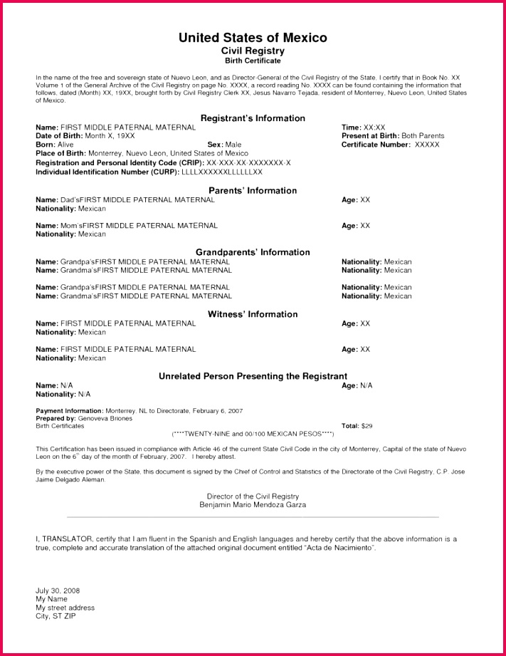 Size of Birth Certificate Malaysia In English Sample Translation Template Spanish To Best s