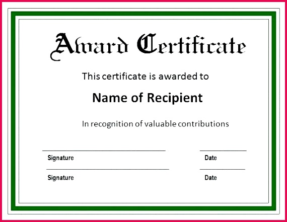 certificate templates blank award prize winner template with green border of recognition awa