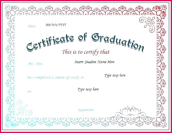certificate of graduation for ms word at free templates