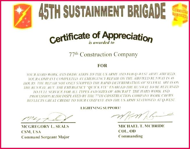 unique certificate appreciation template word design of army ppt