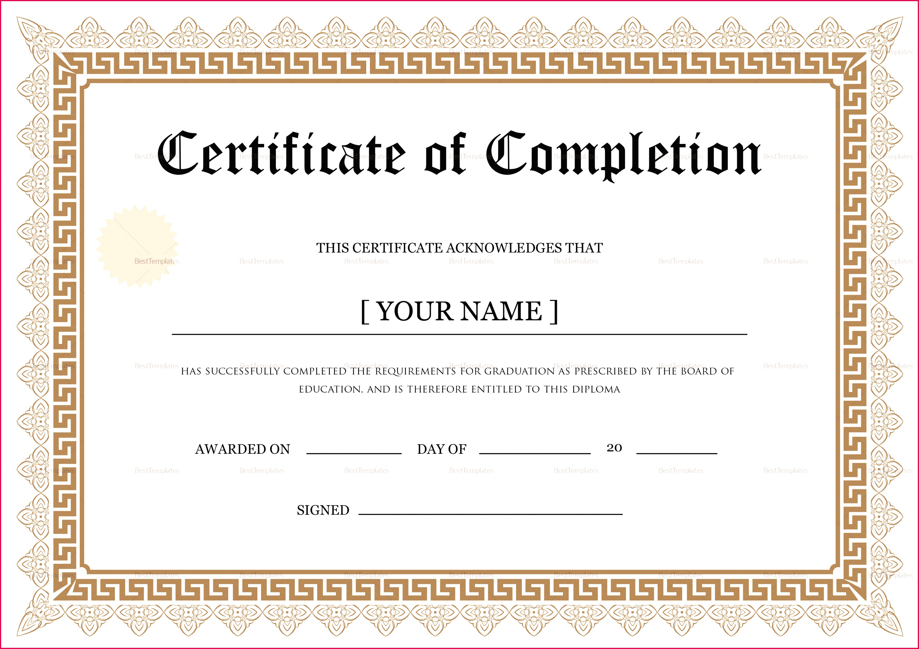 bachelor degree pletion certificate design template in psd word