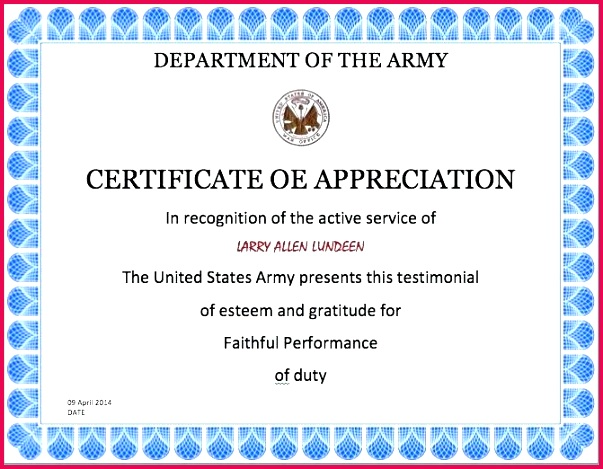 6 army appreciation certificate templates free us training of template