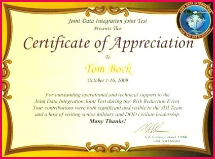 bock awards military certificate of appreciation examples award