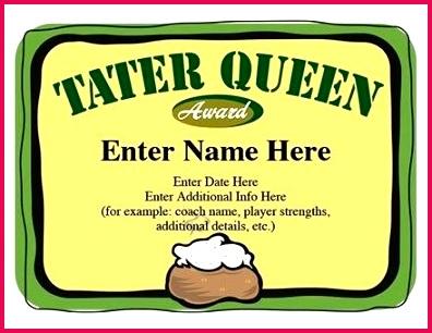 tater queen softball award certificate template free