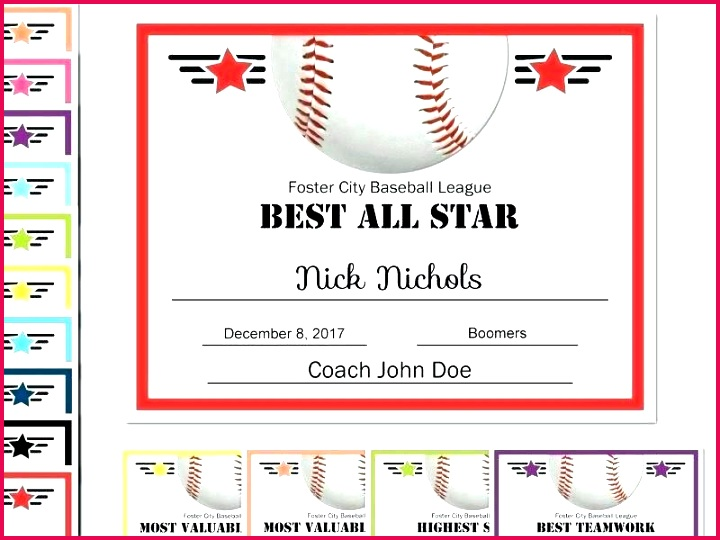 free printable baseball awards and certificates youth award template specialization softball certificate