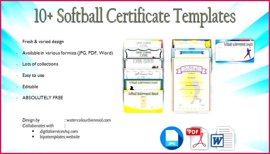 printable softball certificate templates sports awards achievement participation player for word