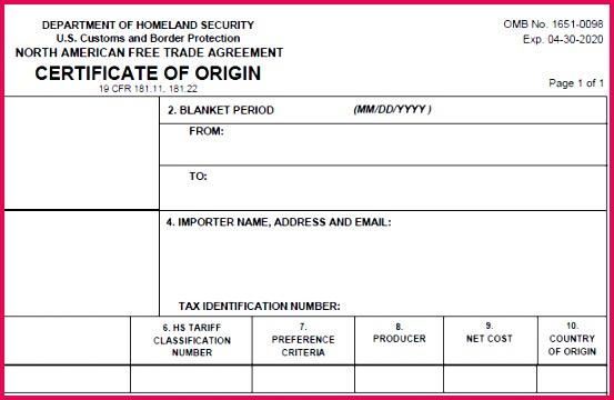 the latest nafta certificate of origin