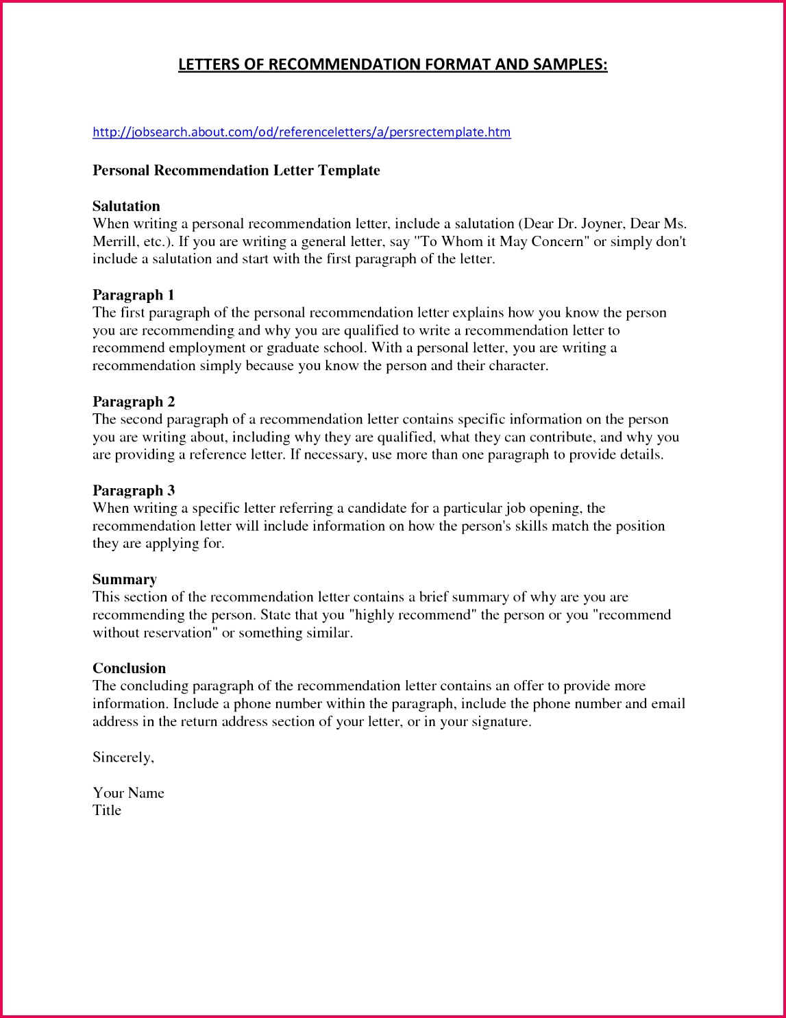 National Junior Honor society Letter Re mendation Template Letter Re Mendation for Nurse