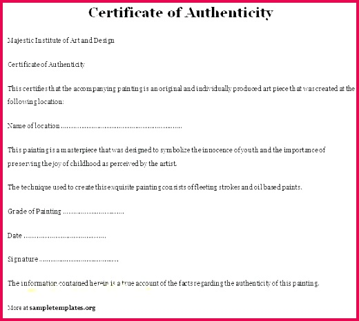 free printable certificate of authenticity templates template letter ficate autograph