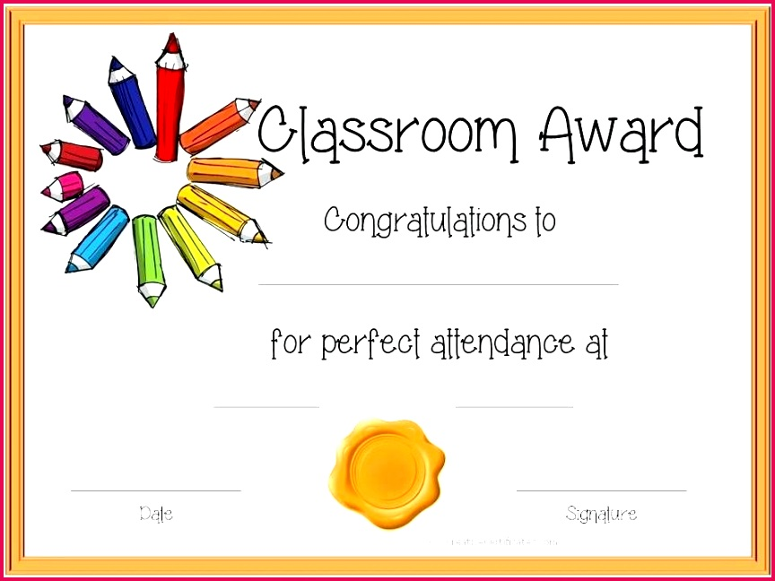 attendance award certificate templates template for kids perfect certificates printable kid free pe