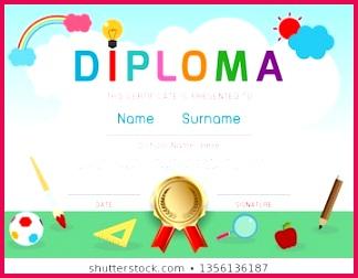 Certificates kindergarten and elementary Preschool Kids Diploma certificate pattern design template Diploma template for