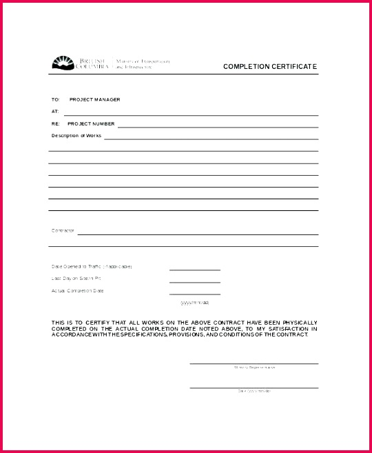 6 Practical Completion Certificate Form 38119