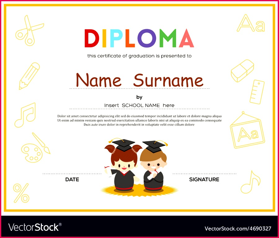 Preschool Kids Diploma Certificate Template For Pre Kindergarten Graduation
