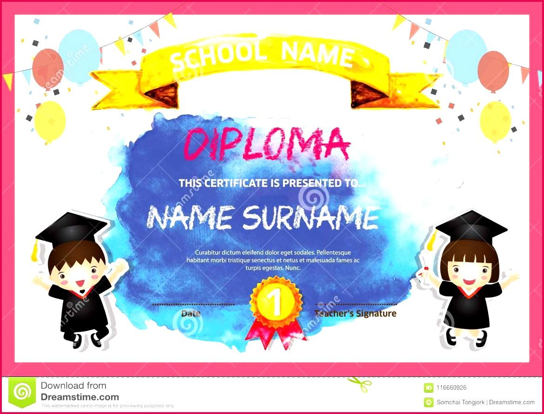 Preschool Kids Diploma certificate colorful background design template vector Illustration For Education graduation concept