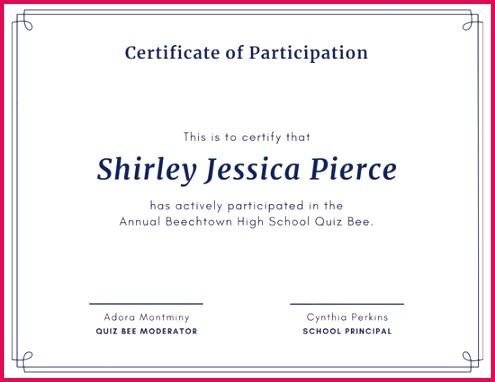 Pink Brain Certificate Participation