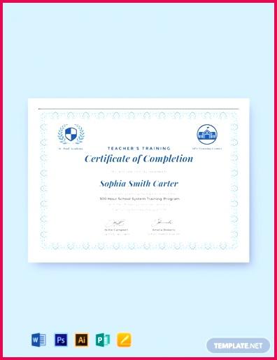 Free Teachers Training pletion Certificate Template