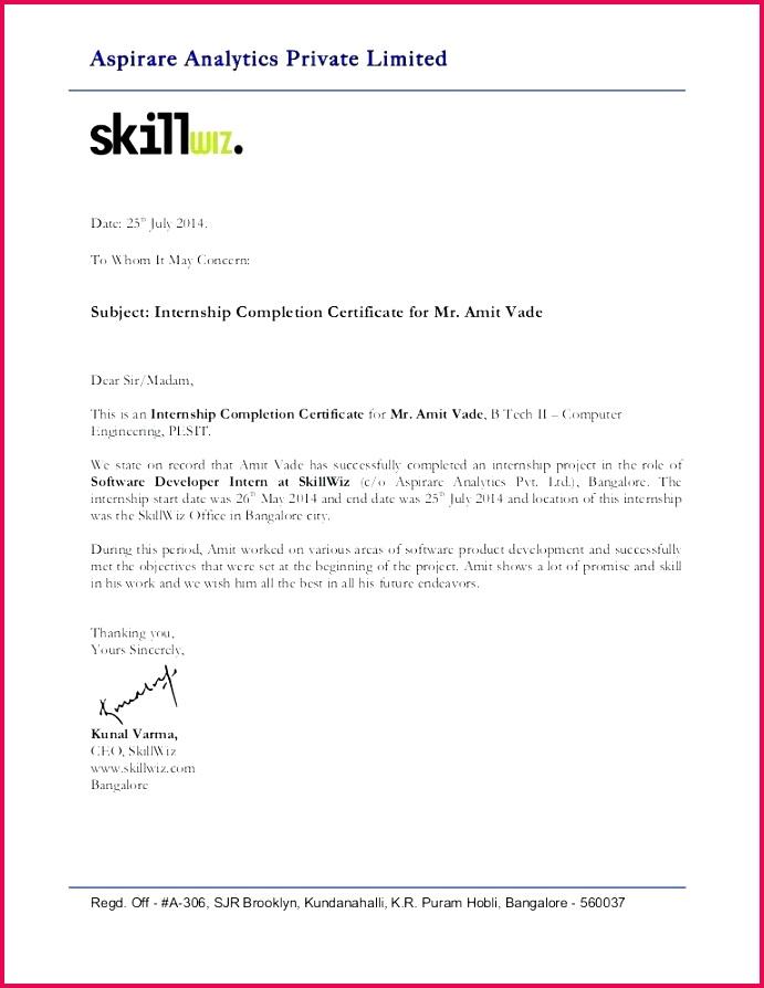 intern pletion letter certificate format internship of successful template