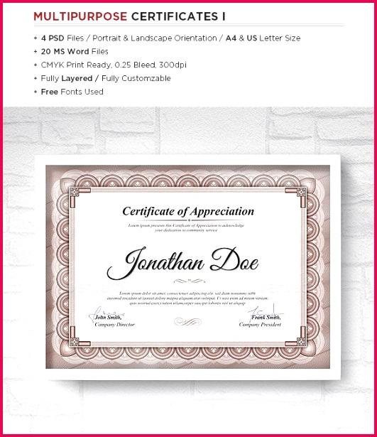 Multipurpose Certificates Templates1 e