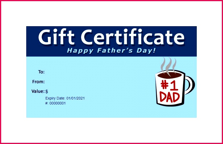 A Father s Day Gift Certificate Template