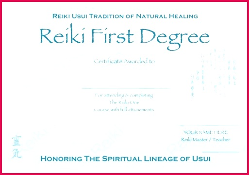 Personalised plete Set Reiki Certificate Templates X4 Etsy
