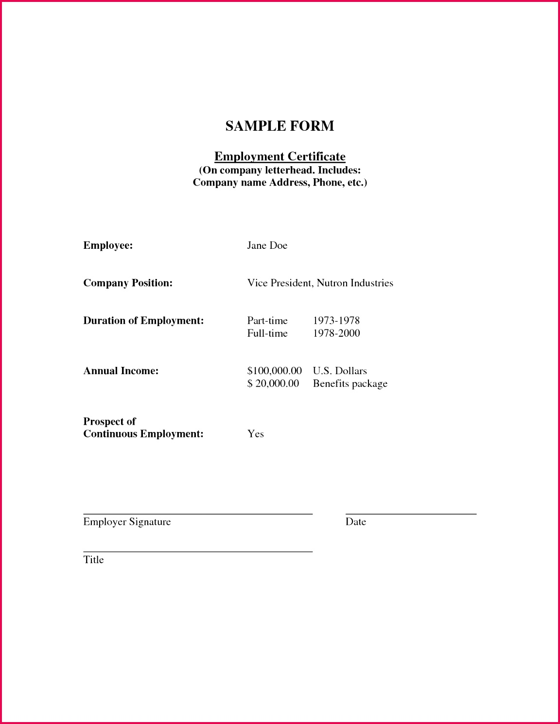 sample certificate employment with salary indicated best of proof of employment and salary letter template 2