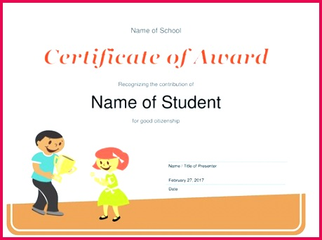 Certificate of Award Elementary students