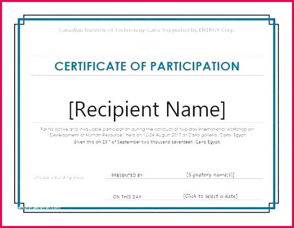 sample certificate attendance workshop printable participation templates of funky seminar best award template word