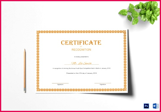 Editable Recognition Certificate Template