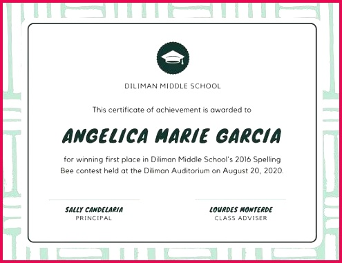 green and cream spelling bee school certificate award template certificates to print