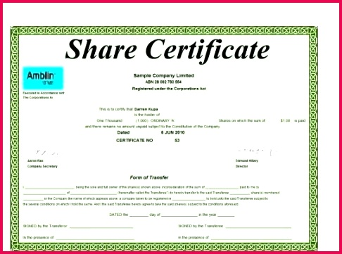 free share certificate template sample of format ordinary stock word