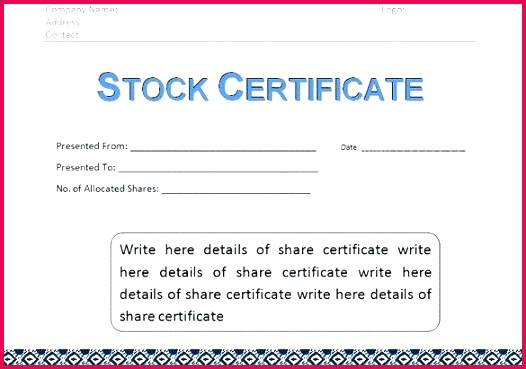corporate stock certificate template word format share uk