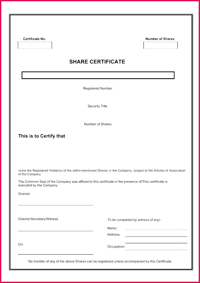 share certificate template free page 1 south word