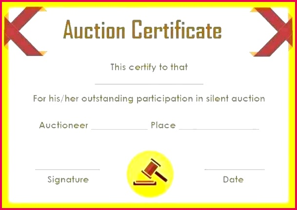 silent auction t certificate template printable certificates